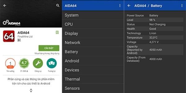 Kiểm tra thông số pin với ứng dụng AIDA64 trên Android.