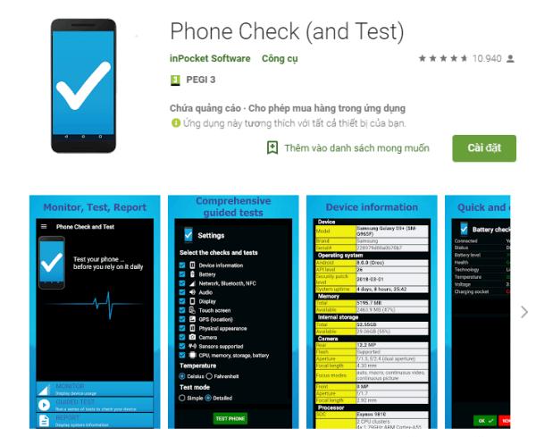 Hình ảnh ứng dụng Phone Check.