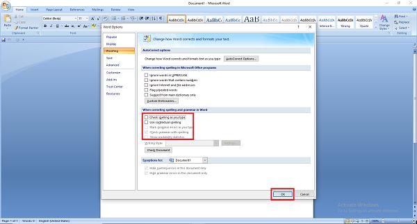 Bỏ kiểm tra lỗi chính tả cho Word 2007