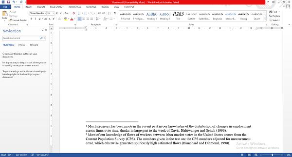 Kết quả tạo footnote theo cách thứ 2