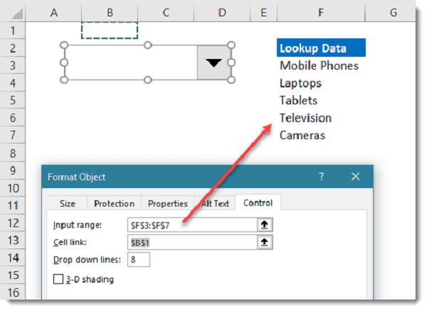 Cách tạo hộp thoại xổ xuống Data Validation bằng Bảng điều khiển Form