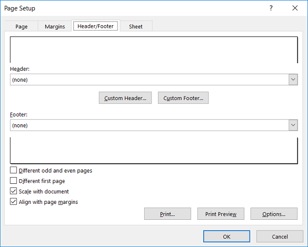 Thẻ Header/Footer khi mở cửa sổ Page Setup