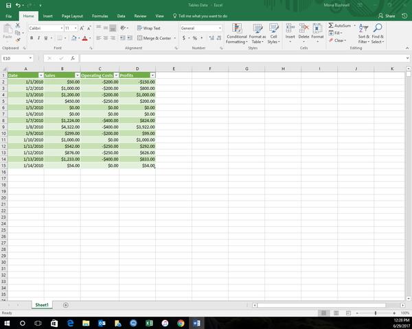 Giao diện trang tính Excel