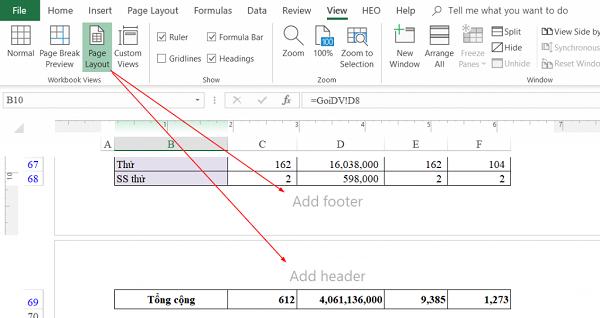 Giao diện của cách đánh số trang trong excel ở chế độ xem Page Layout